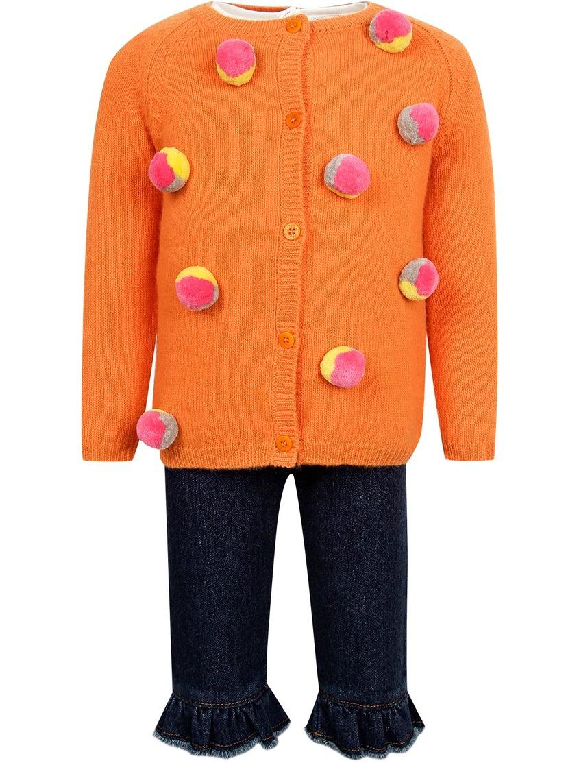 Купить Комплект с джинсами, джемпером и лонгсливом цвет multicolor