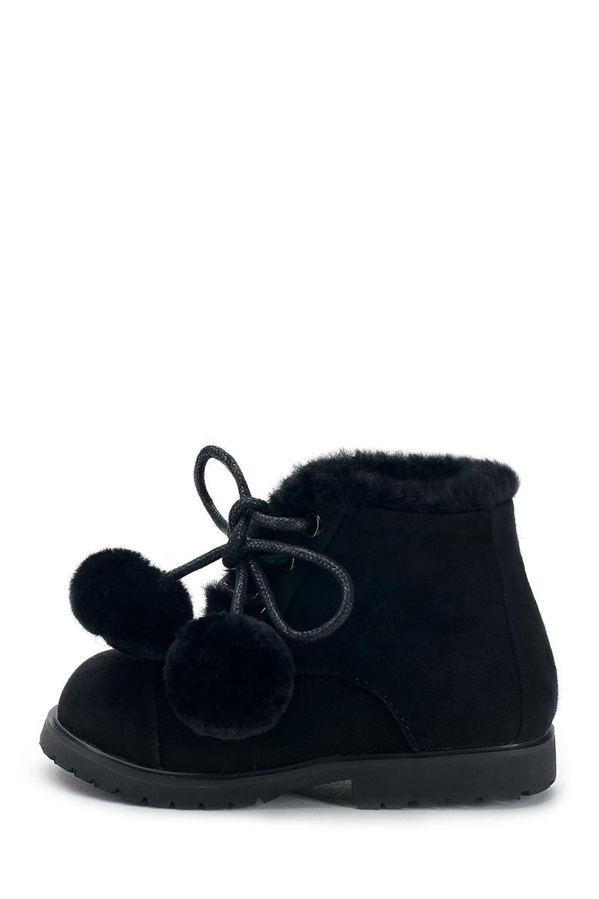 Черные ботинки из натуральной овчины ZOEY POMPON фото