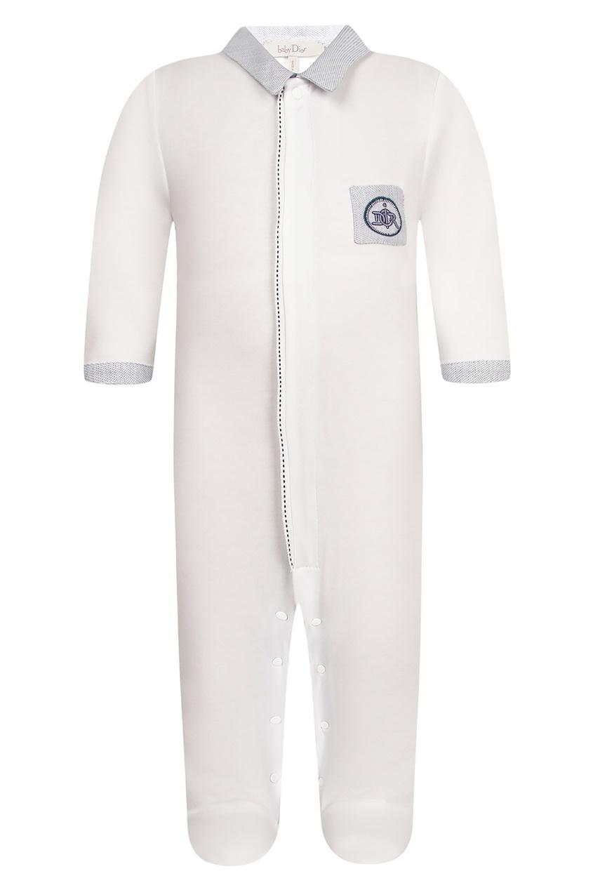 Купить Хлопковый белый комбинезон от Dior Kids белого цвета