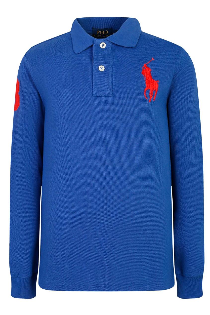 Синее поло с длинными рукавами от Polo Ralph Lauren Kids