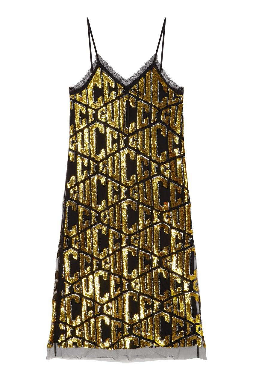 женское платье gucci, золотое