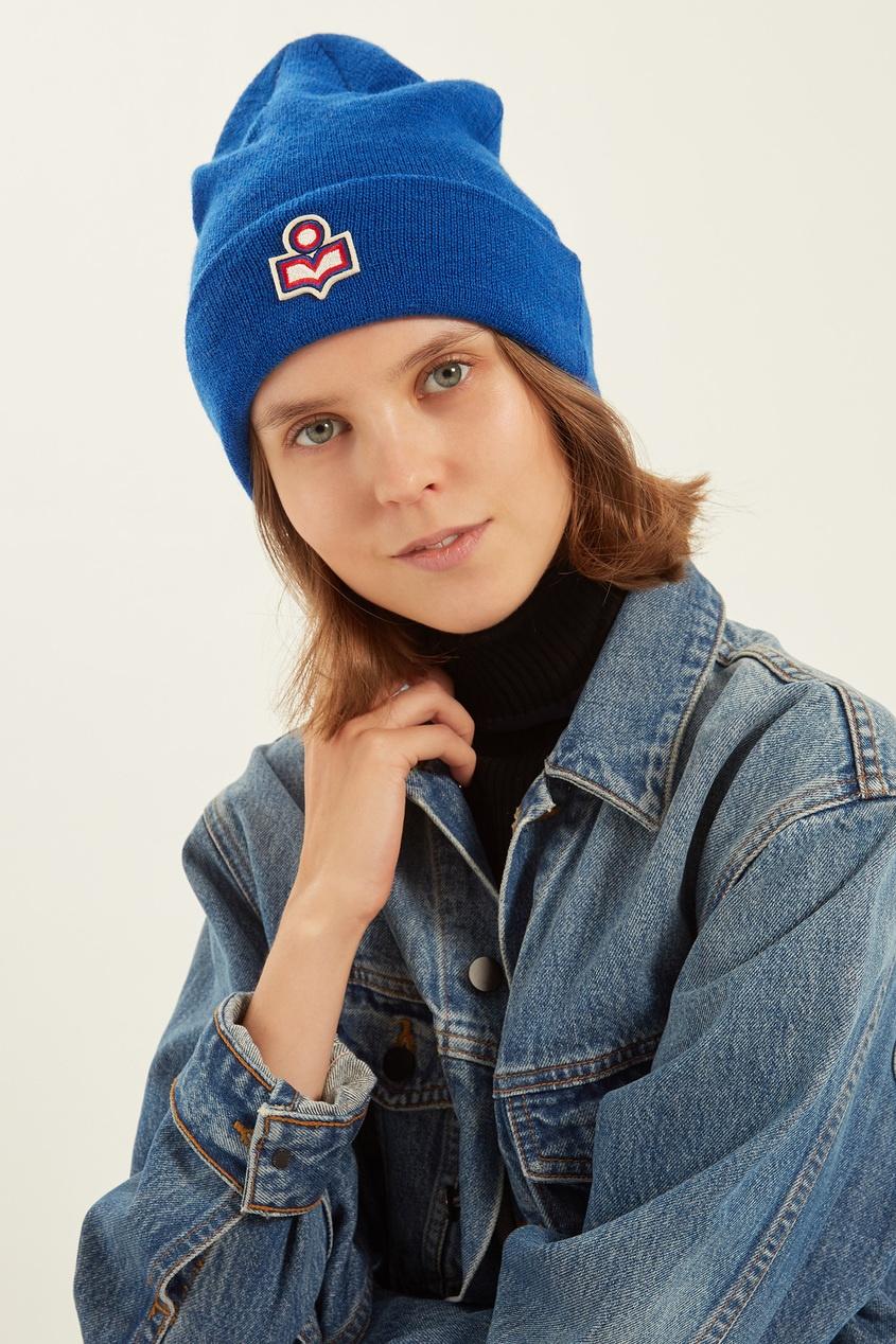 женская шапка isabel marant, синяя