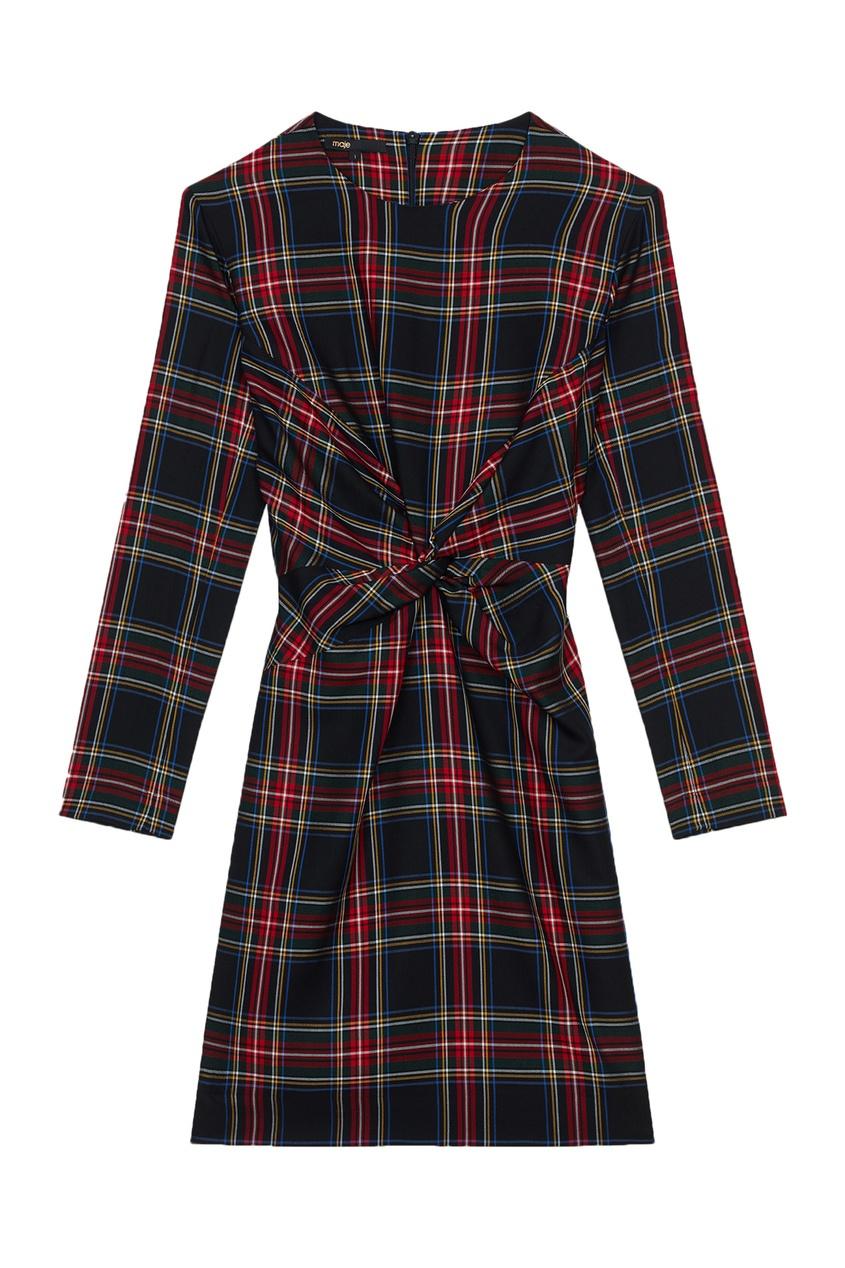 Купить со скидкой Контрастное платье с драпировкой
