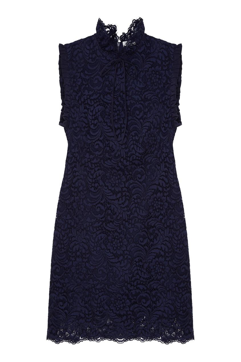 Купить со скидкой Темно-синее платье без рукавов