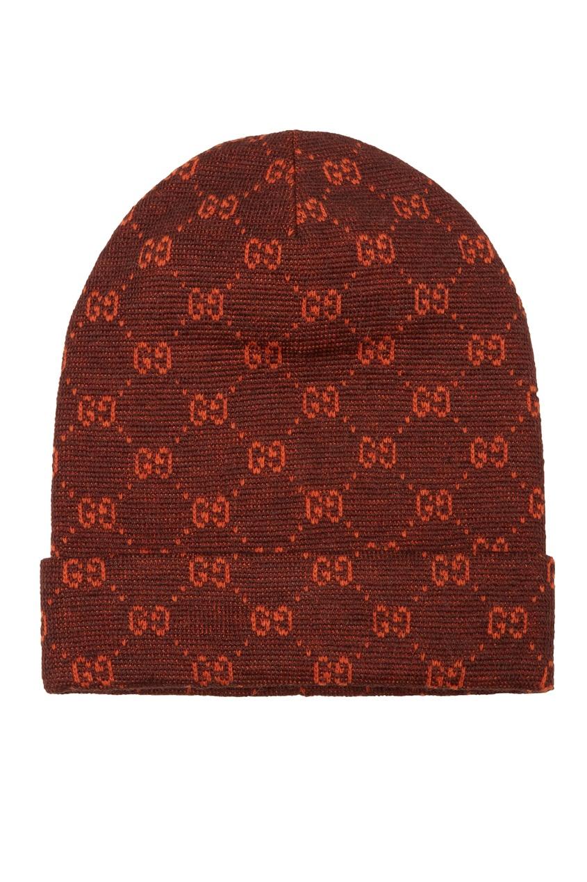 женская шапка gucci, коричневая