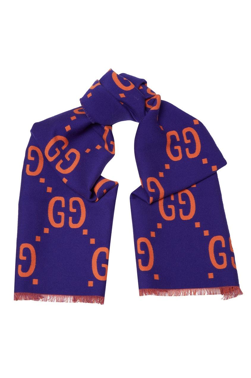 женский шарф gucci, фиолетовый