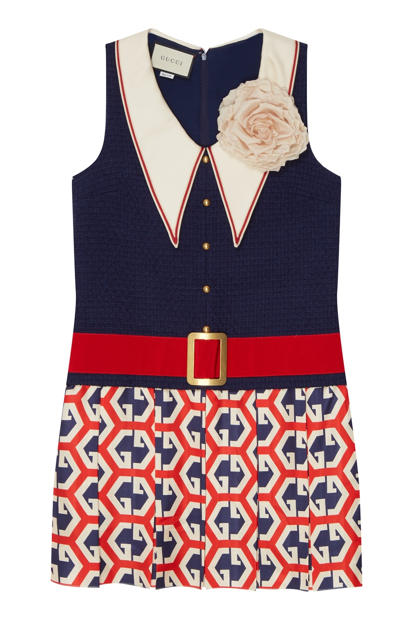 Комбинированное платье с отделкой от Gucci