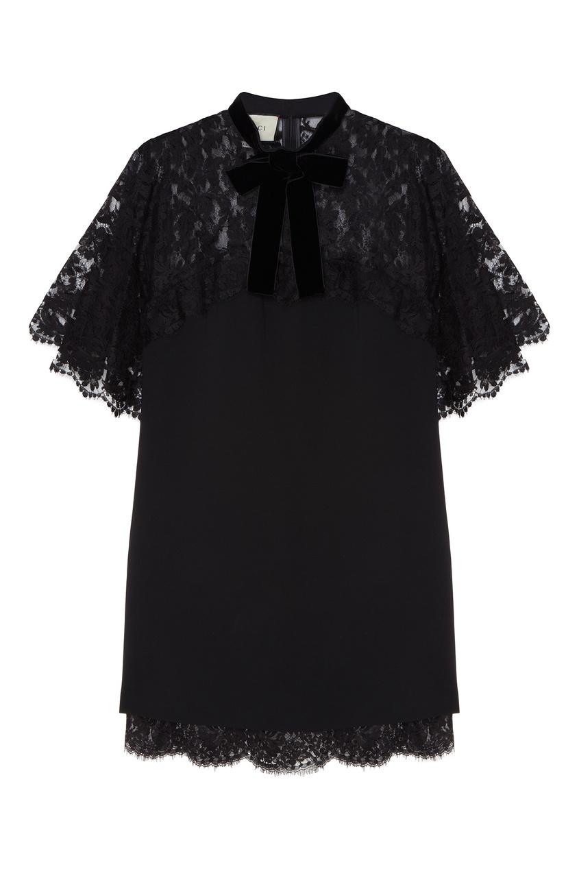Черное платье с кружевной отделкой от Gucci