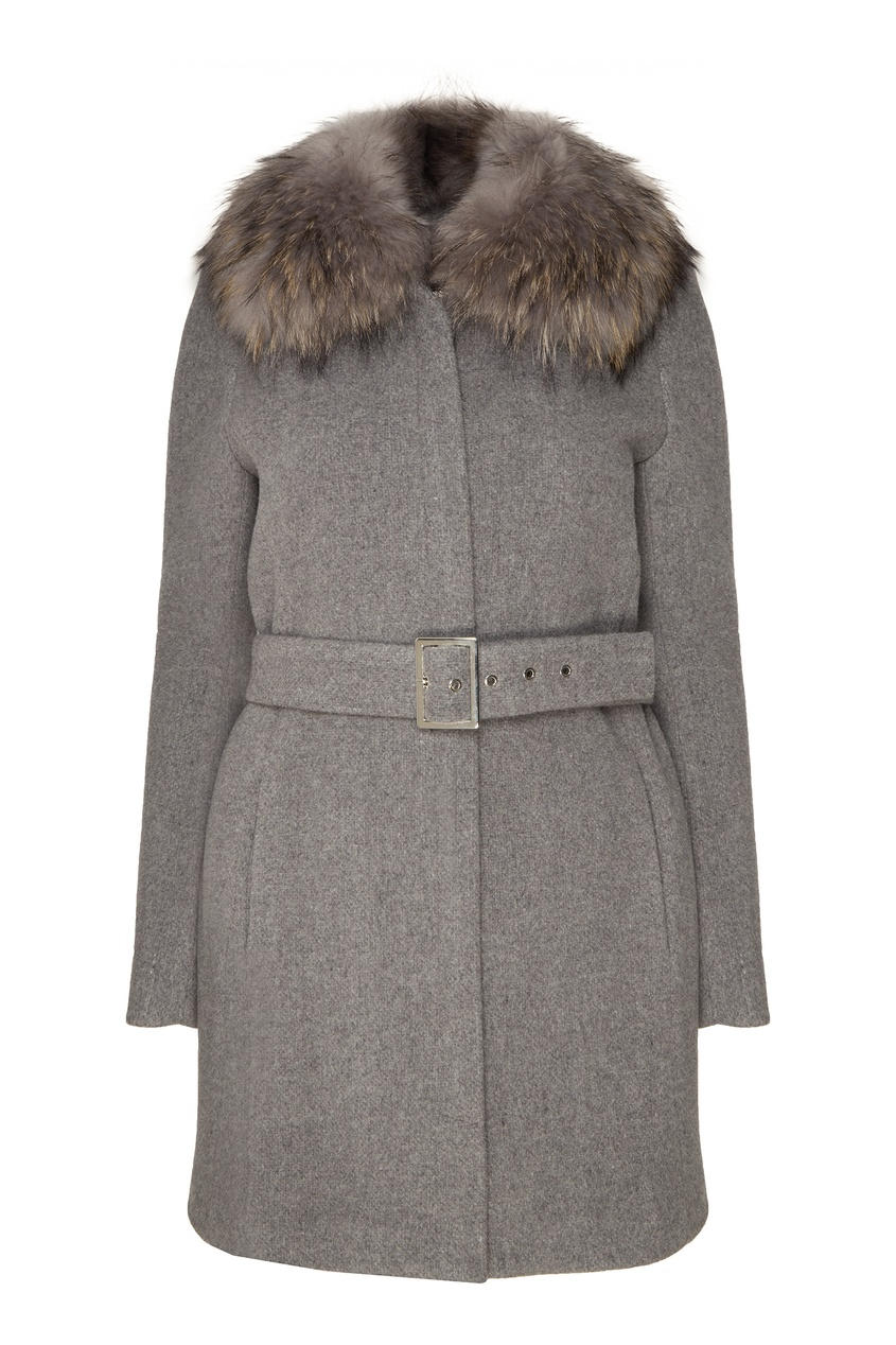 Купить со скидкой Серое пальто с мехом