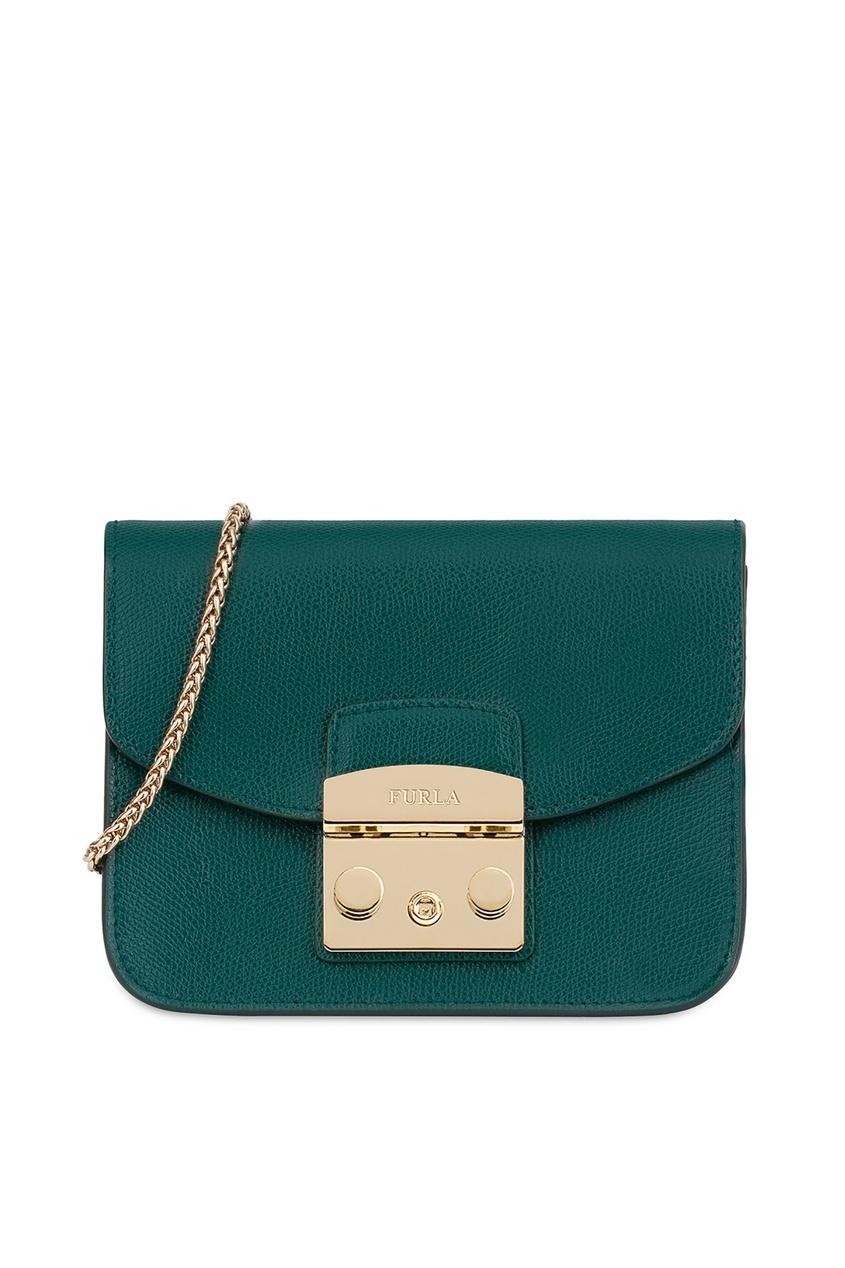 Зеленый кожаный клатч Furla
