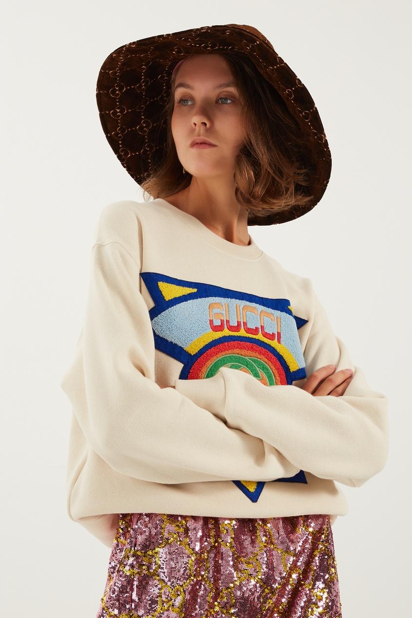 женская шляпа gucci, коричневая