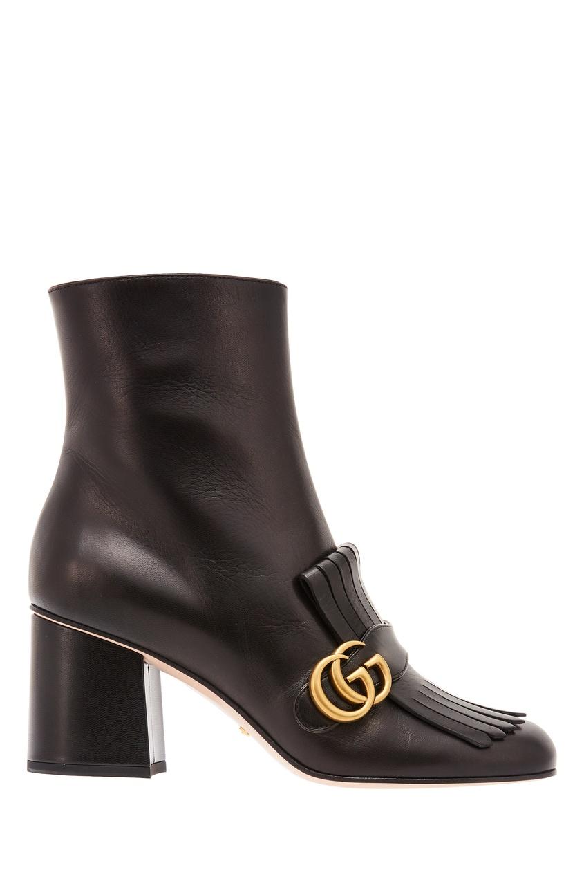 Кожаные сапоги с отделкой Gucci