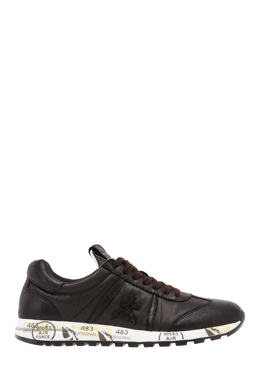 Купить со скидкой Черные кроссовки из кожи и текстиля
