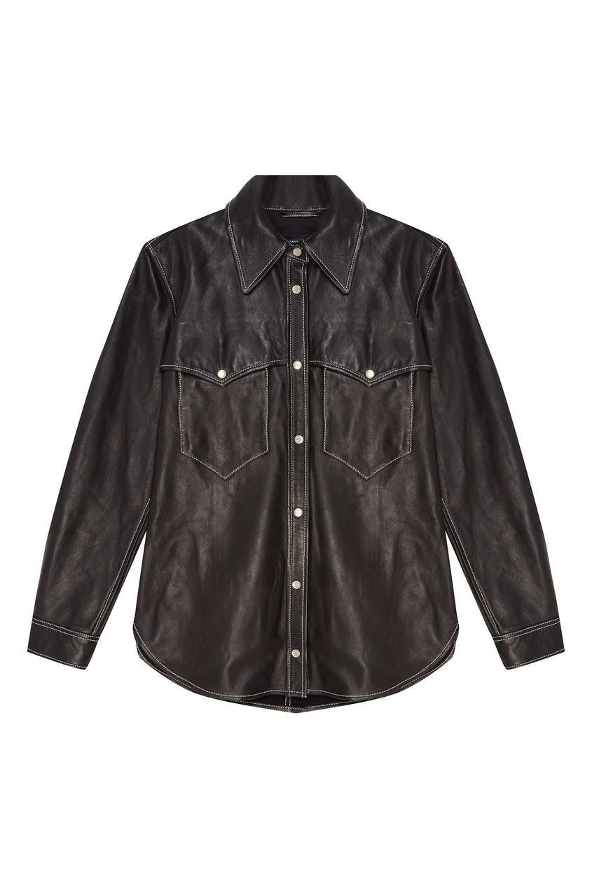 Купить со скидкой Черная рубашка из кожи Nile