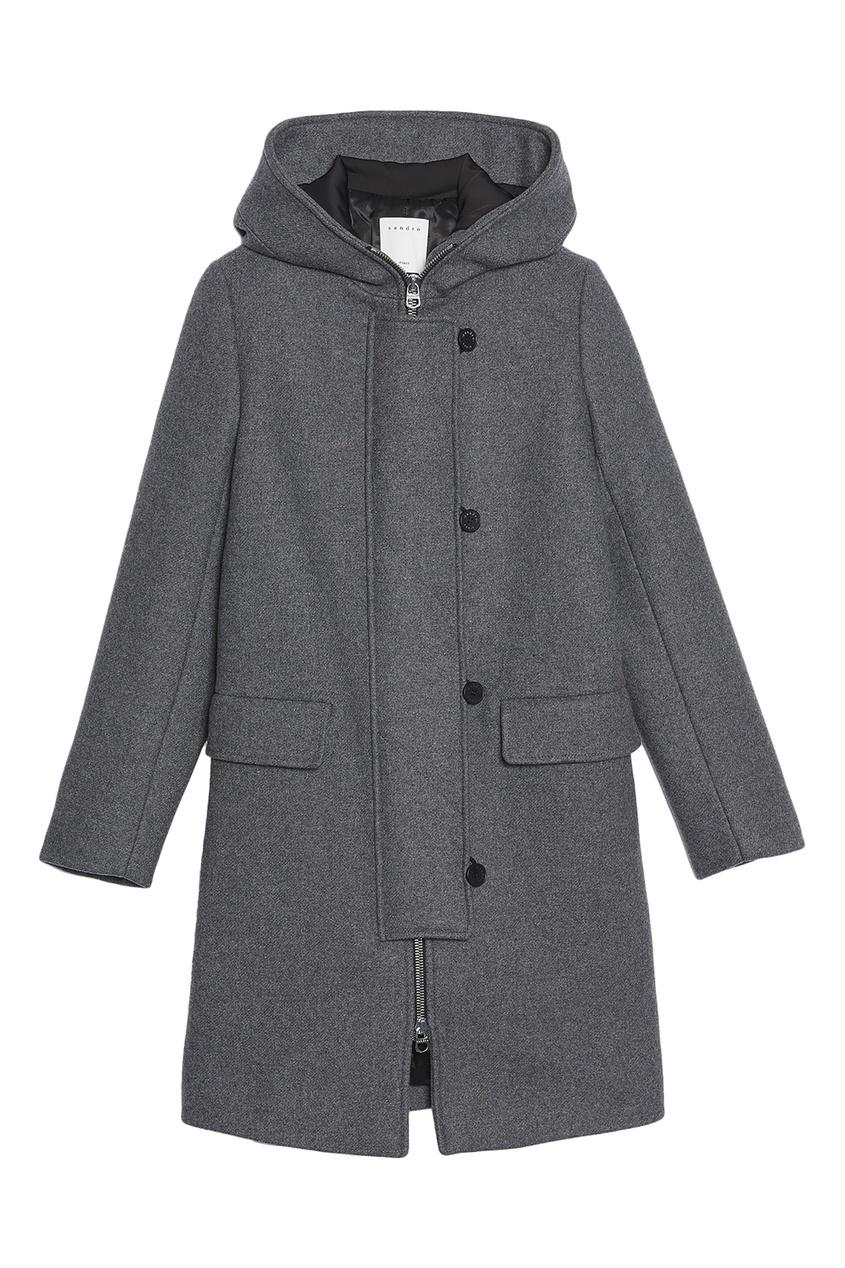 Купить со скидкой Серое пальто с капюшоном