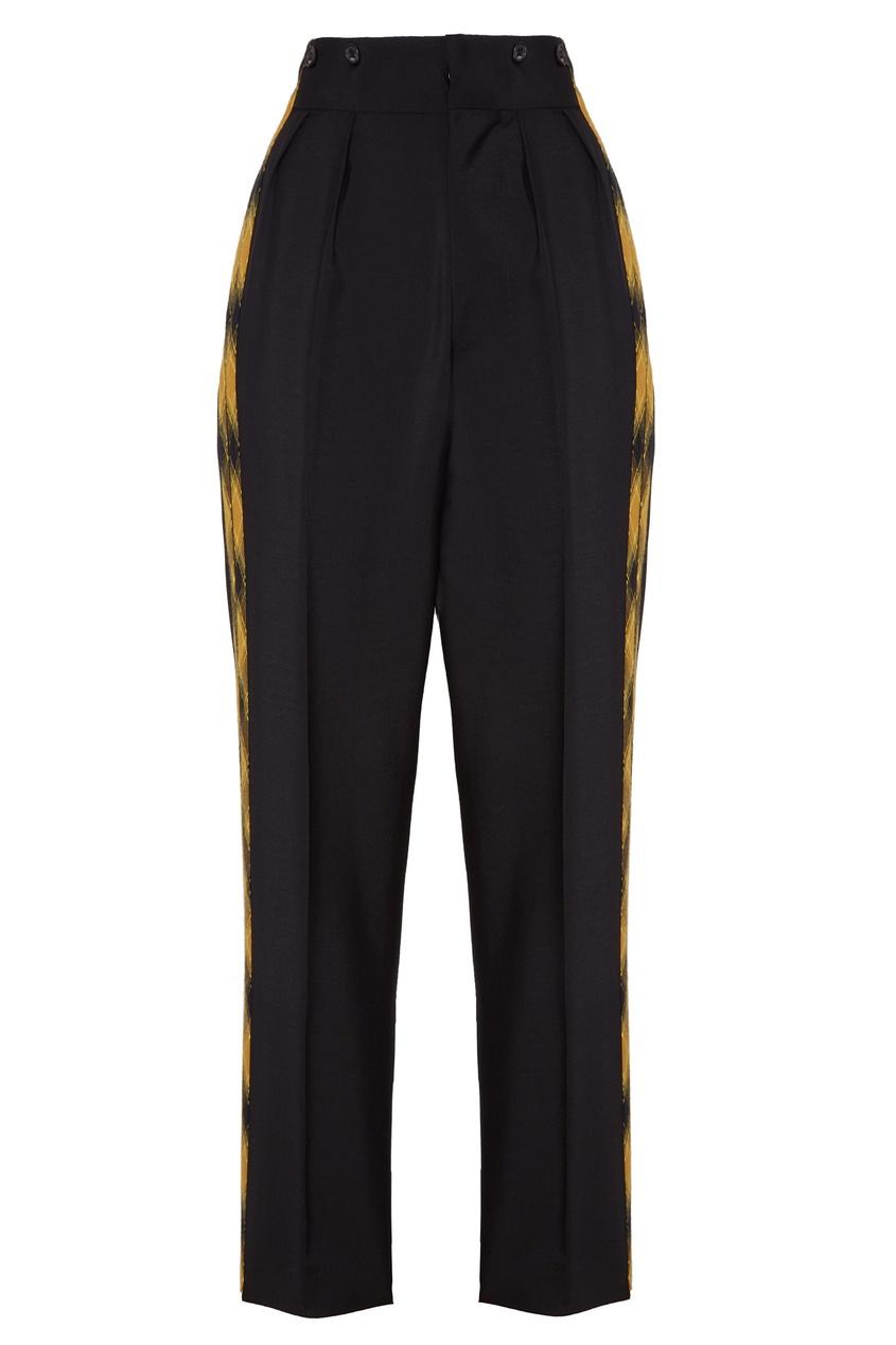 Купить со скидкой Черные брюки с контрастными лампасами