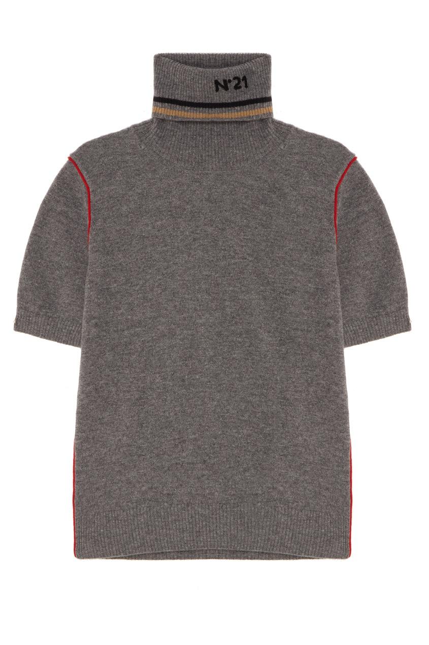 Купить Джемпер с короткими рукавами от No.21 серого цвета