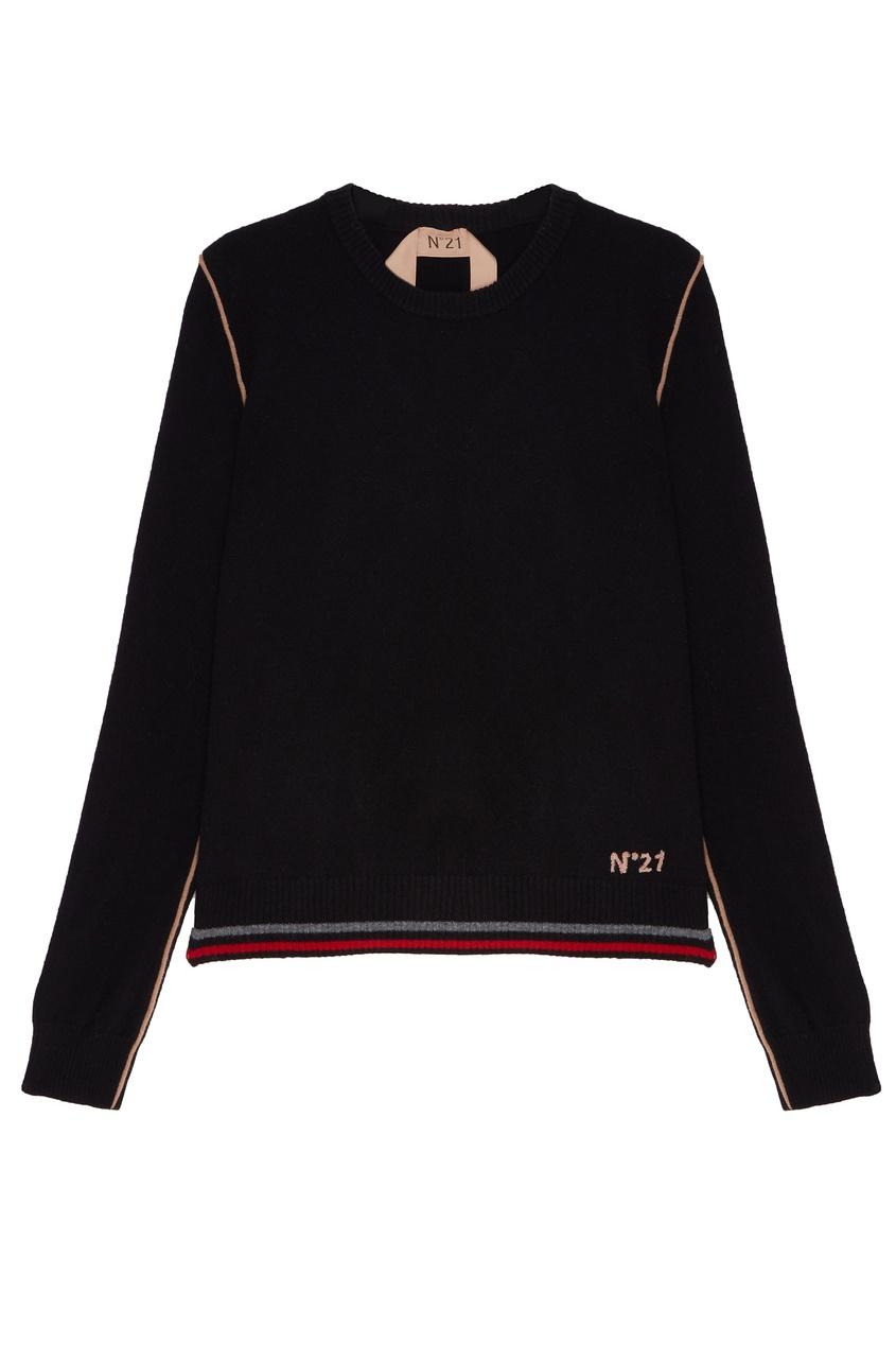 Купить Черный джемпер с контрастной отделкой от No.21 черного цвета