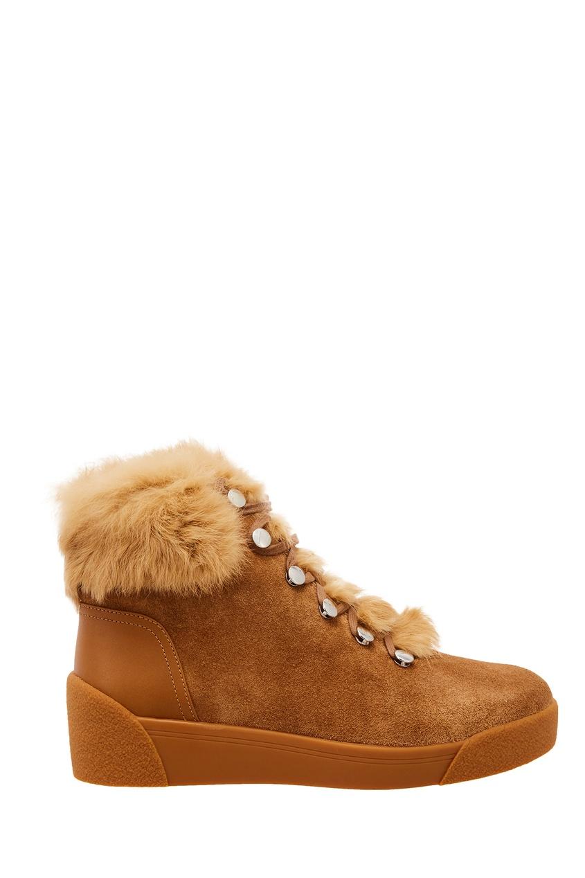 Купить со скидкой Бежевые ботинки с меховой отделкой