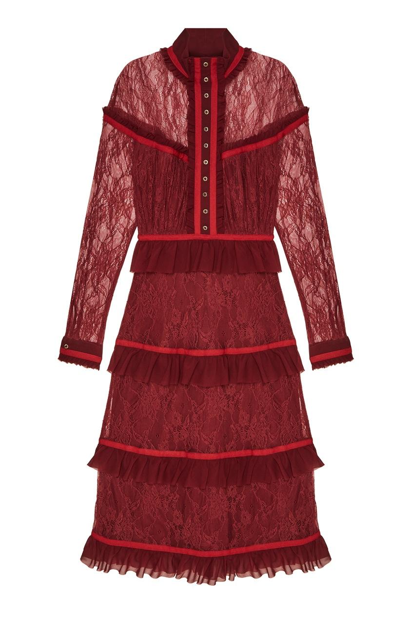 Бордовое платье с рюшами Laroom