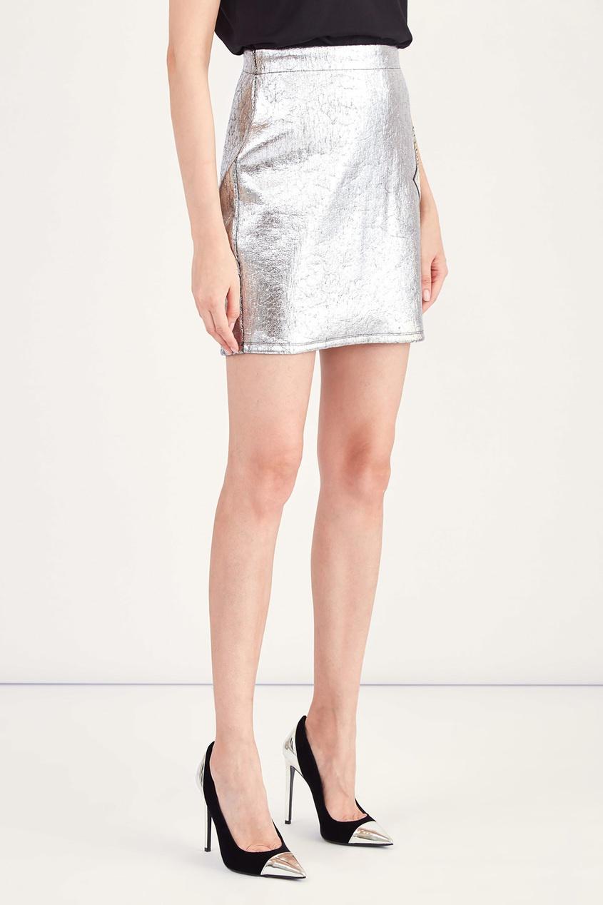 женская юбка balmain, серебряная