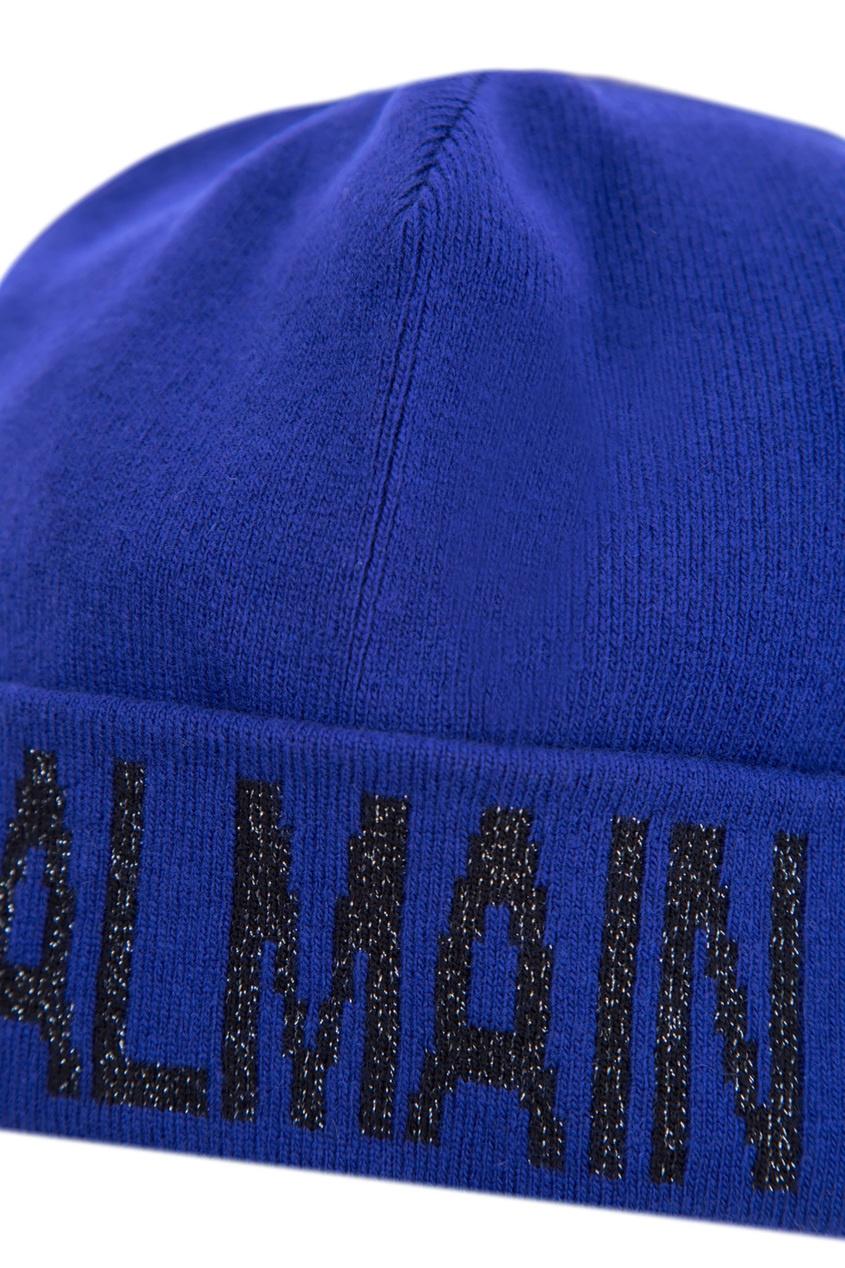 женская шапка balmain, синяя