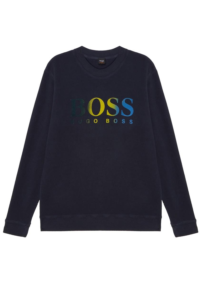 Темно-синий свитшот с логотипом от Boss Orange