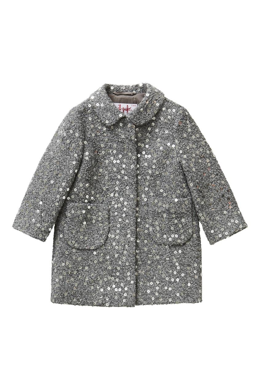 Купить со скидкой Серое пальто с пайетками