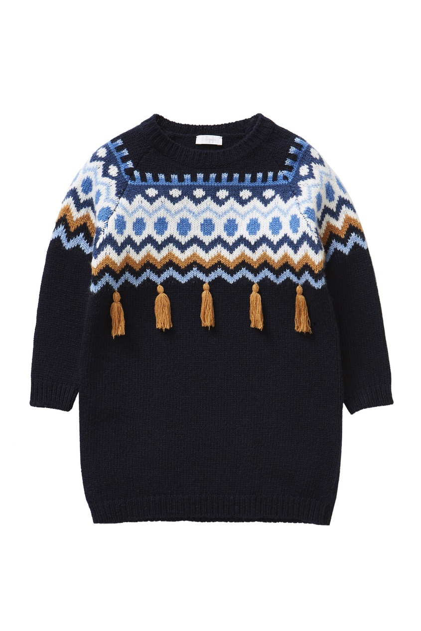 Темно-синий свитер с узором