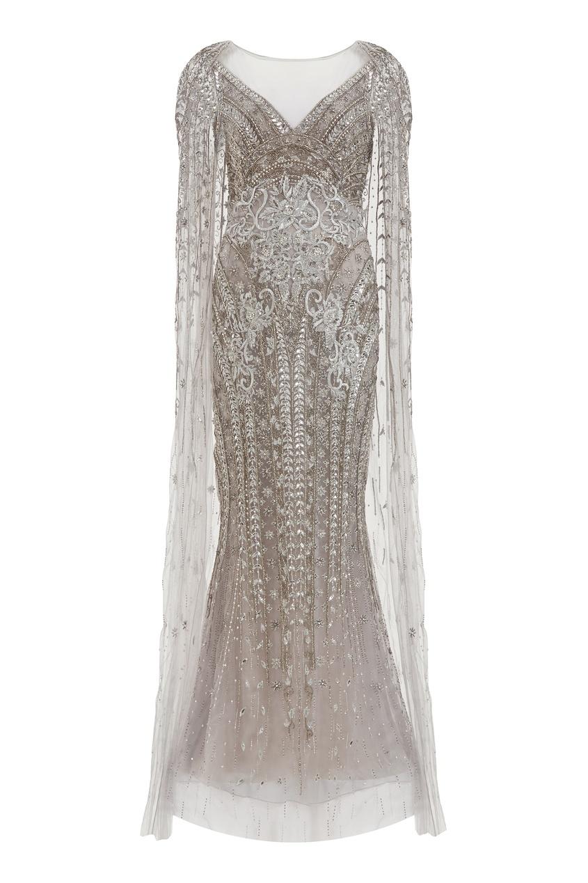 Серебристое платье с полупрозрачным кейпом Marchesa