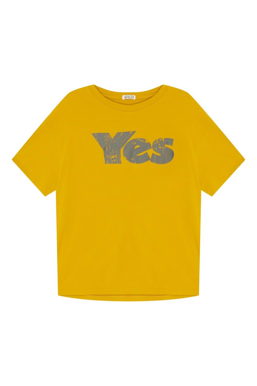 Купить Желтая футболка с принтом желтого цвета