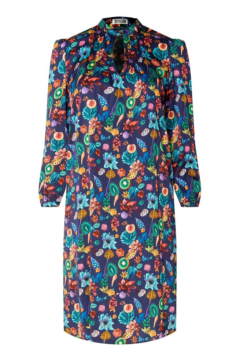Купить Платье с цветочным принтом синего цвета