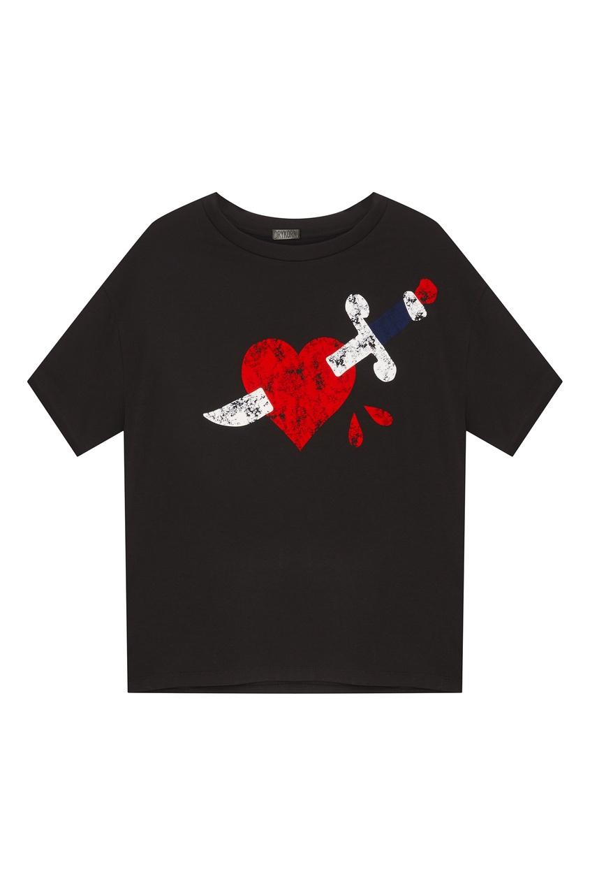 Купить Черная футболка с принтом черного цвета