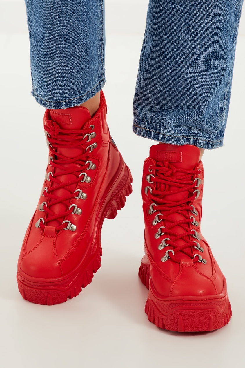женские ботинки msgm, красные
