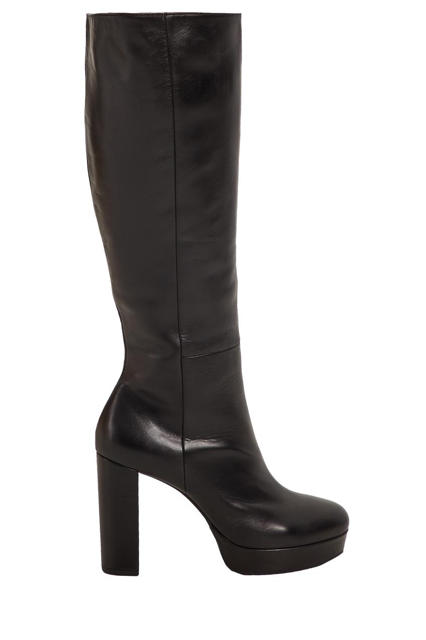 Черные кожаные сапоги Vic Matie