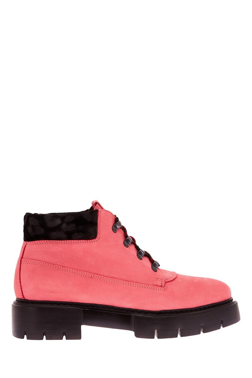 Фото #1: Розовые ботинки на шнуровке