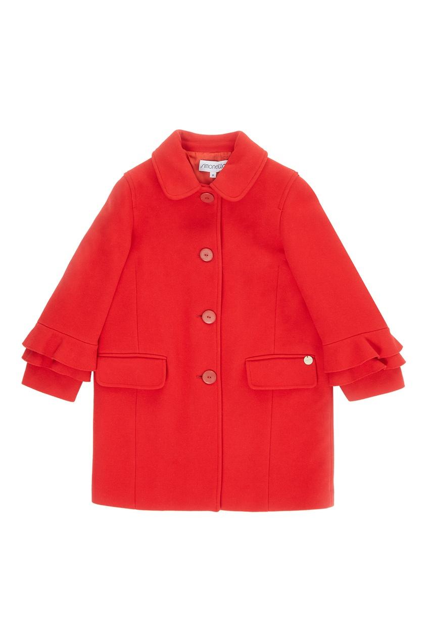 Красное пальто с воланами от Simonetta Mini