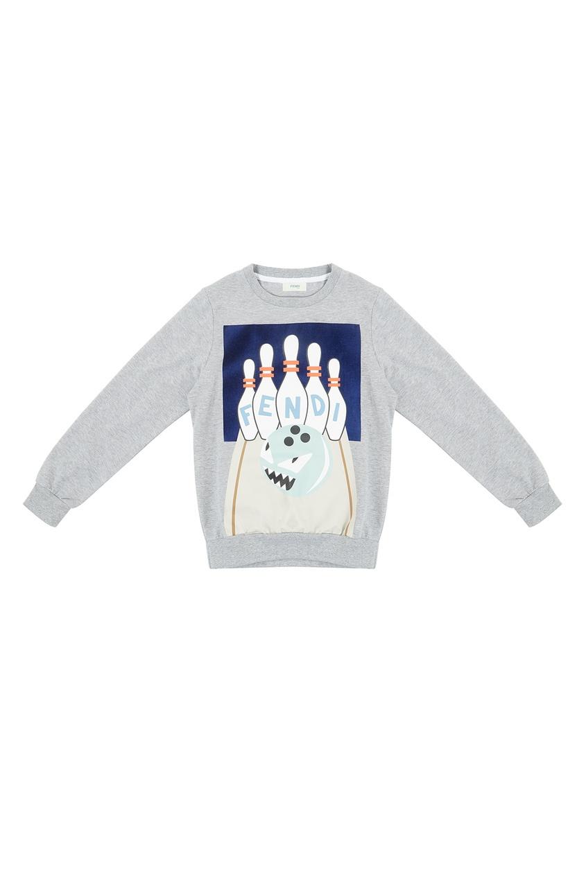 Купить Серый свитшот с принтом от Fendi Kids серого цвета