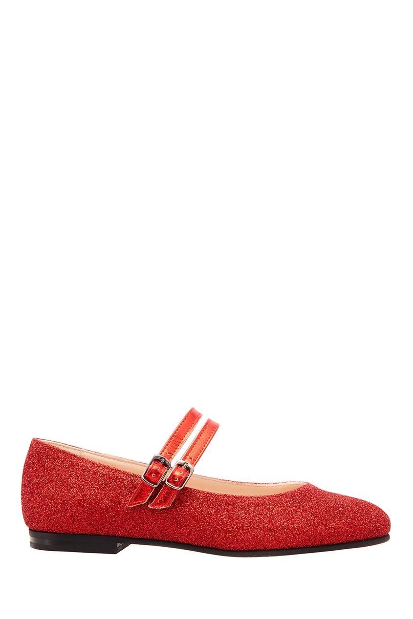 Купить Красные балетки с глиттером от EQUERRY красного цвета