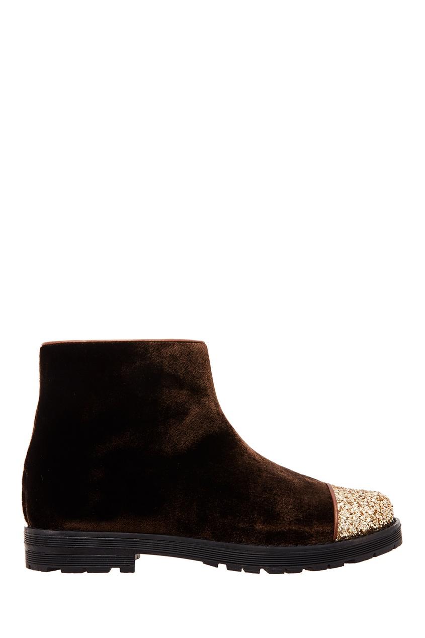 Коричневые бархатные ботинки с отделкой