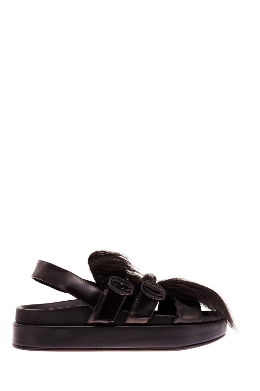 Черные сандалии с фактурной отделкой SIMONE ROCHA