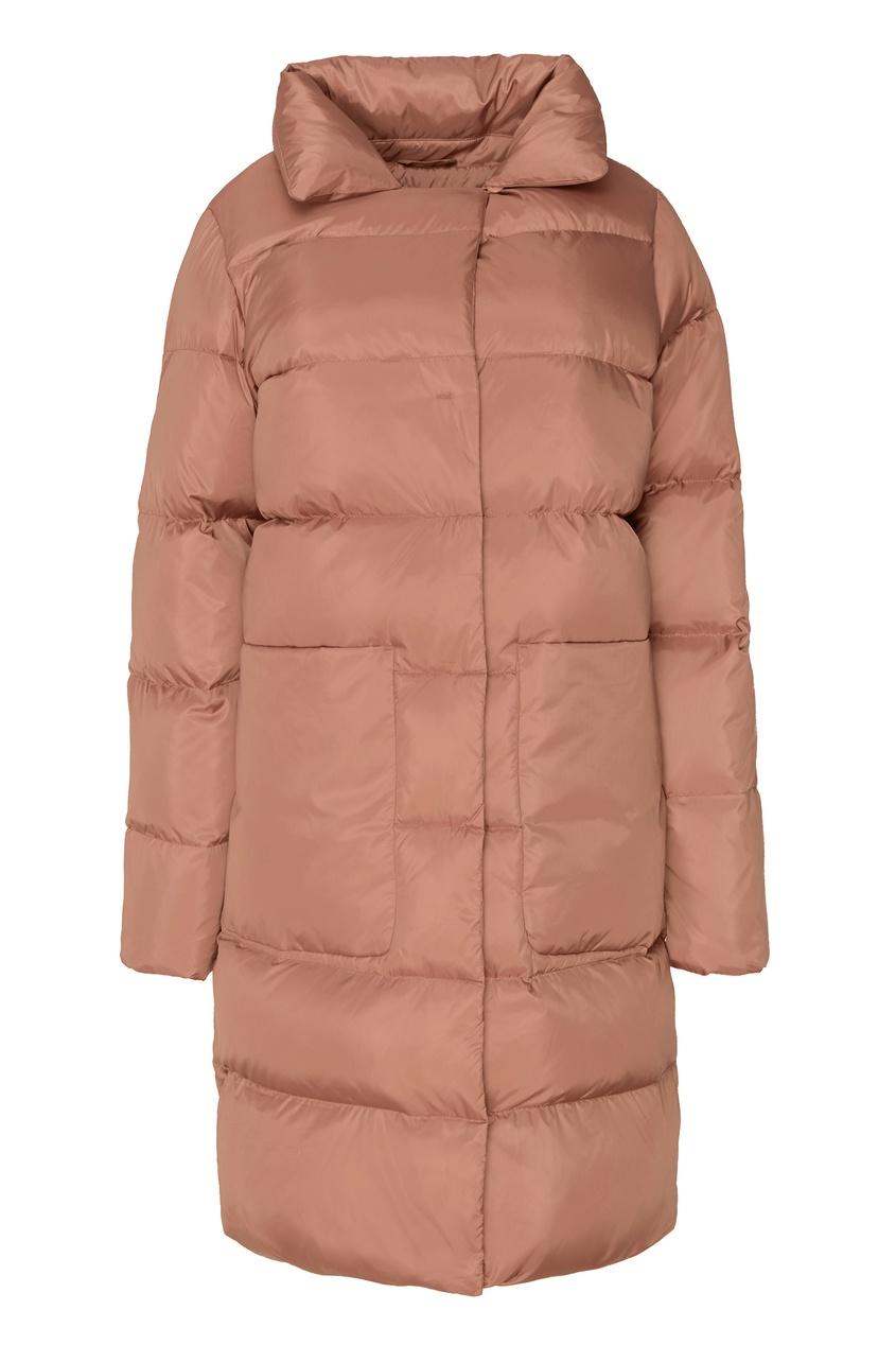 Пуховое пальто кофейного цвета