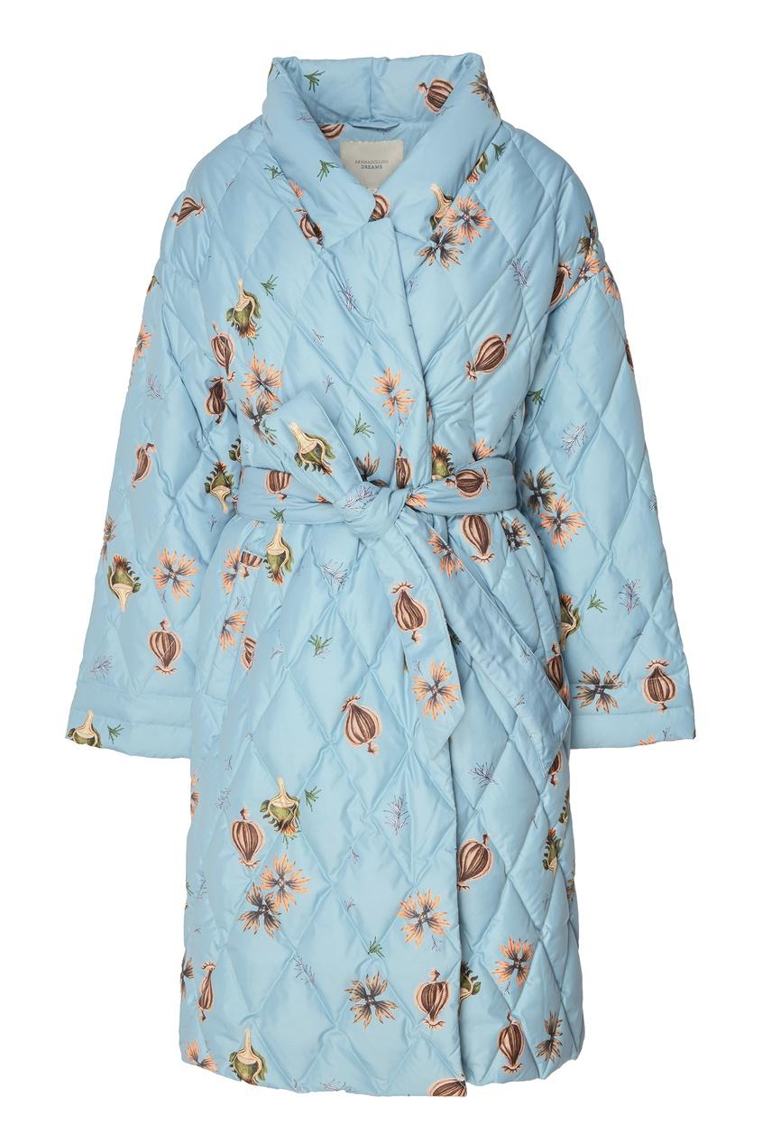 Светло-голубое пуховое пальто с поясом Akhmadullina DREAMS