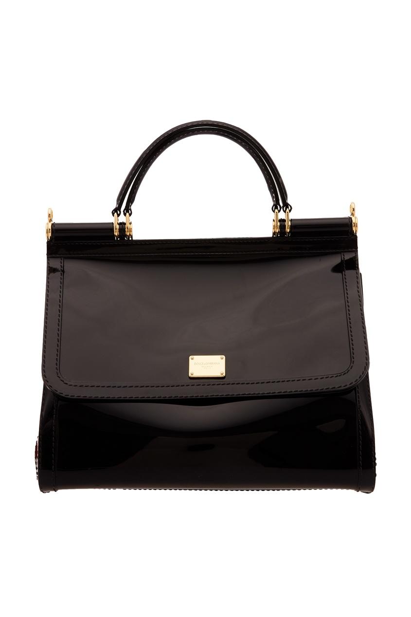 Черная лакированная сумка Sicily Dolce&Gabbana