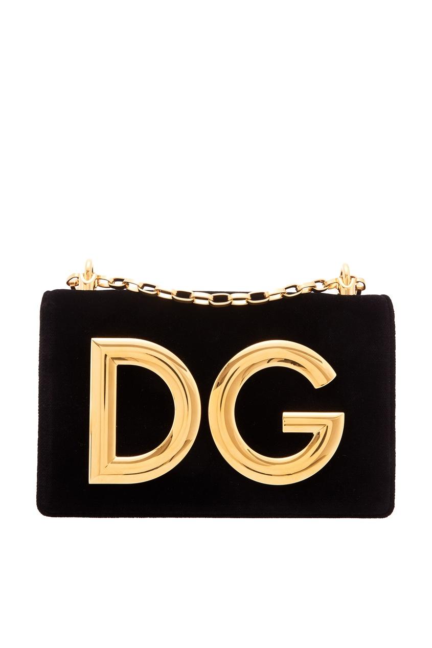 Черный бархатный клатч DG Girls Dolce&Gabbana