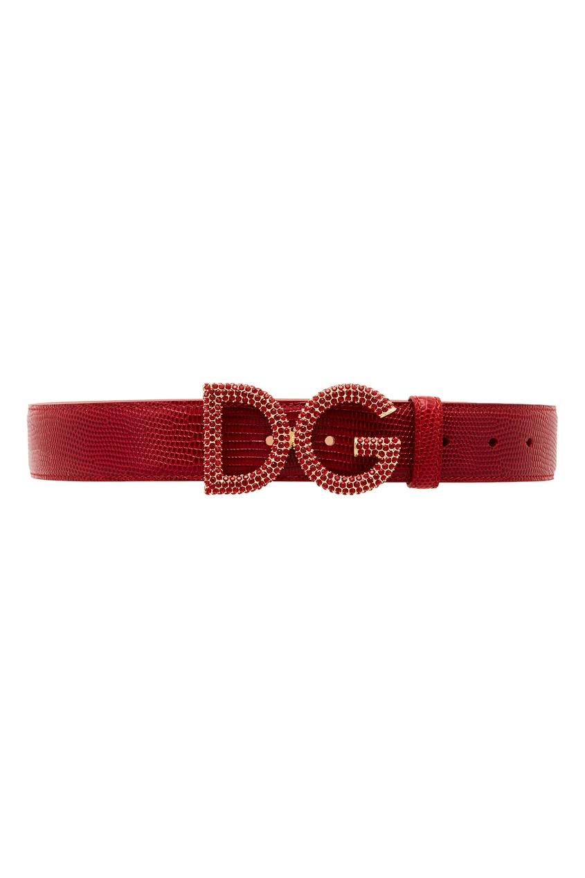 Бордовый кожаный ремень с кристаллами Dolce&Gabbana