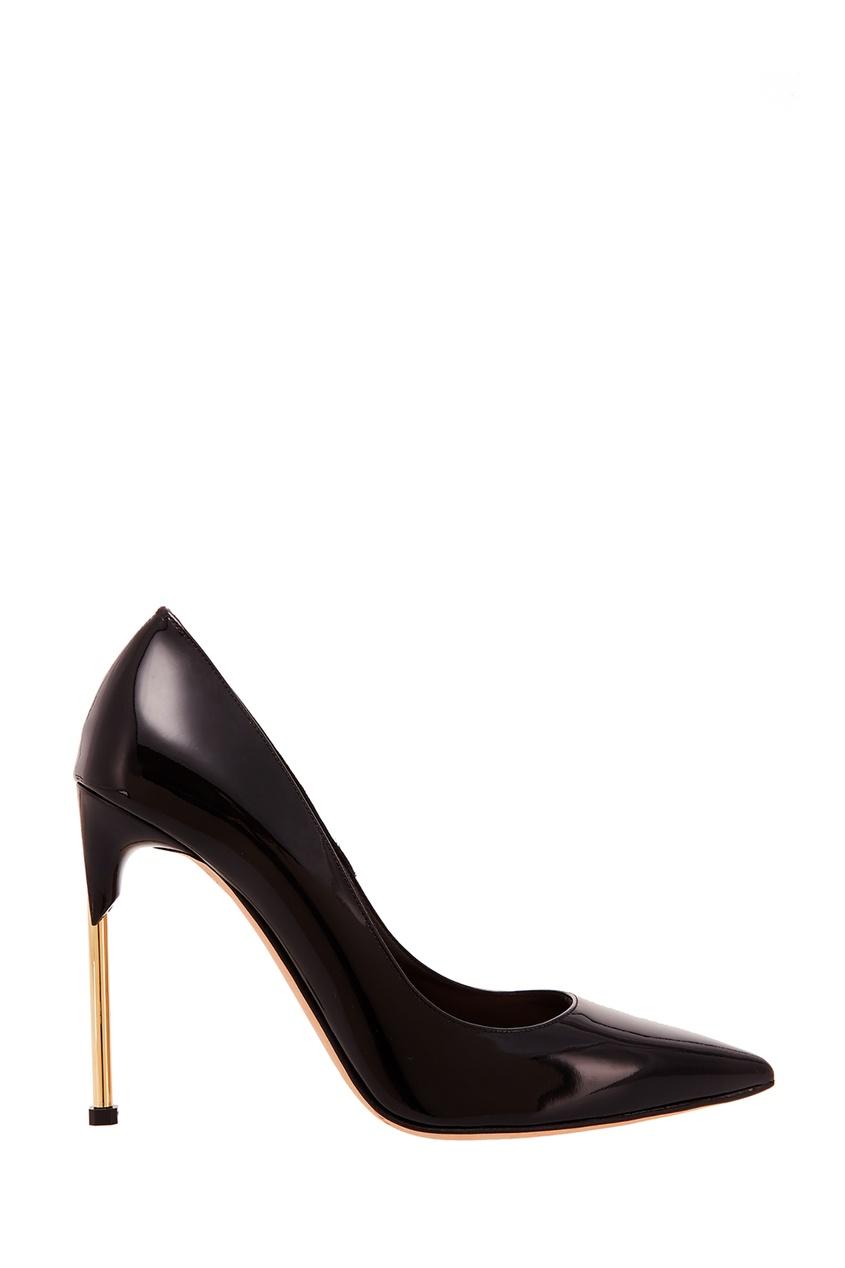 Черные лакированные туфли на шпильке Alexander McQueen