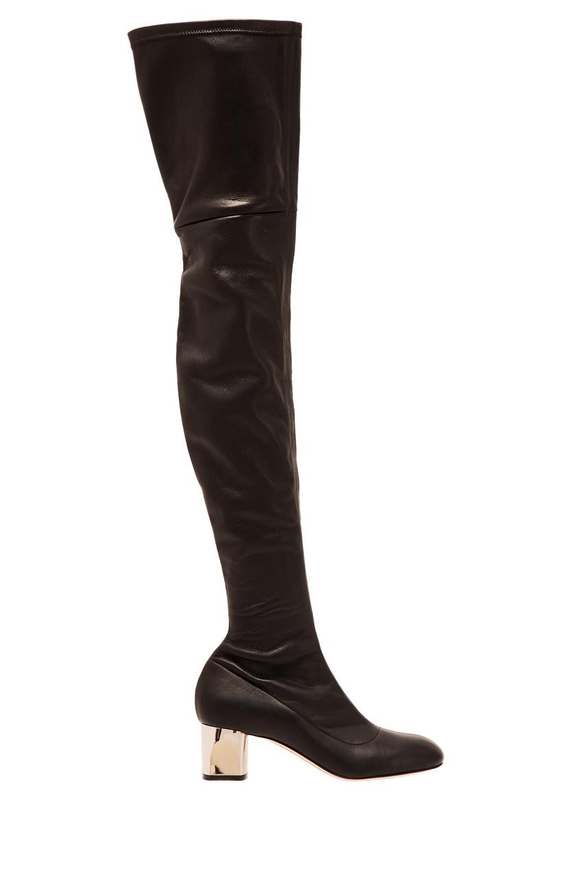 Черные кожаные ботфорты Alexander McQueen