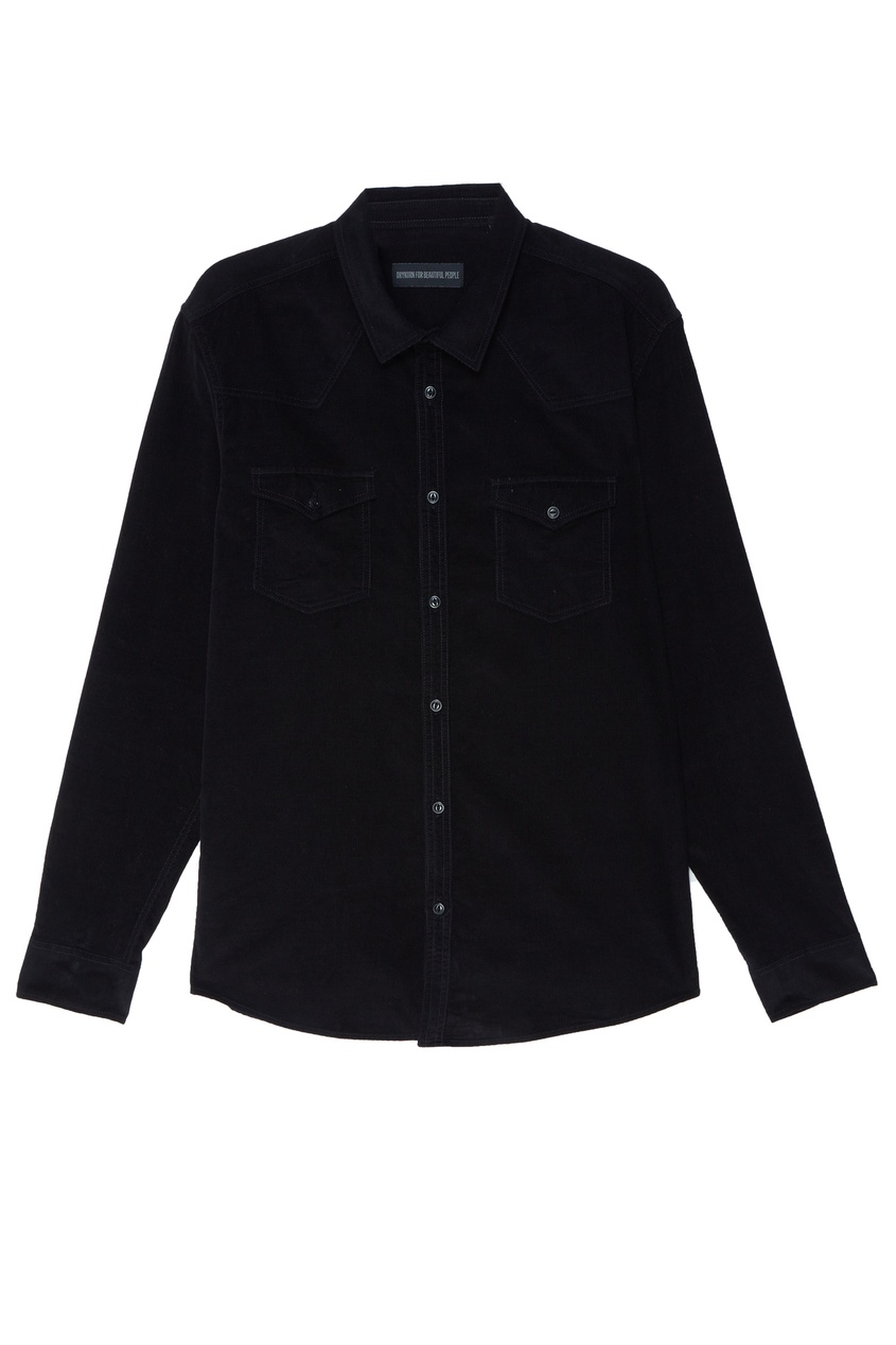 Купить Черная рубашка с карманами черного цвета