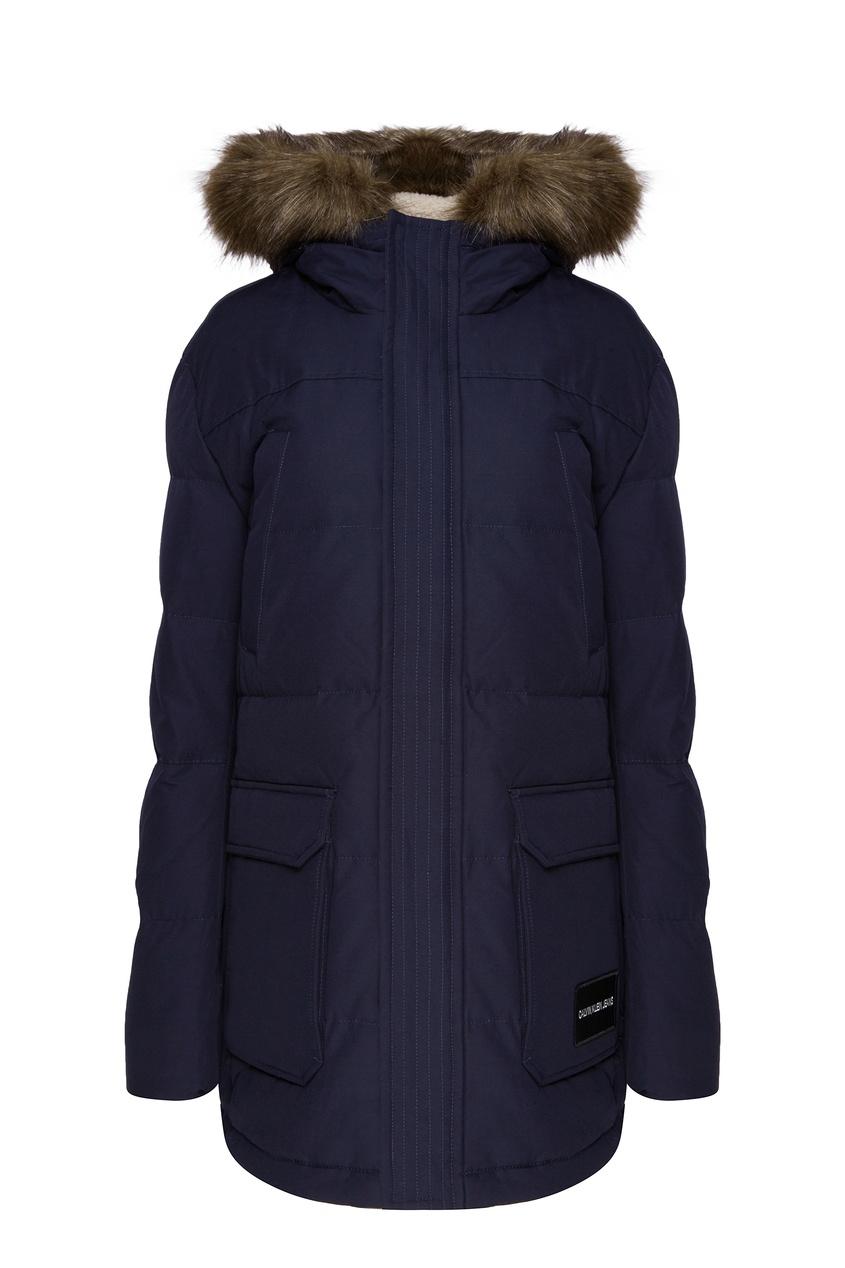 Синяя куртка с мехом Calvin Klein